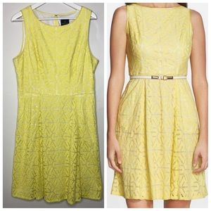 Adrianna Papell yellow cutaway fit & flare dress